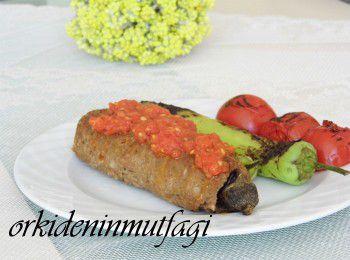 kıyma mantolu közlenmiş patlıcan
